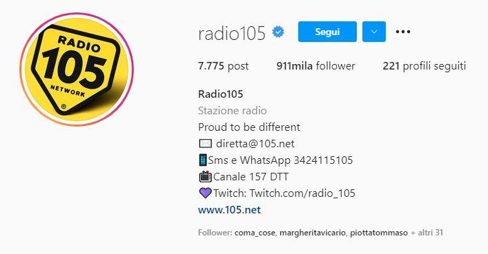radio 105 e social instagram